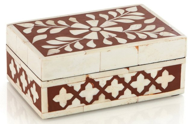 Flat Bone Inlay Box, Red