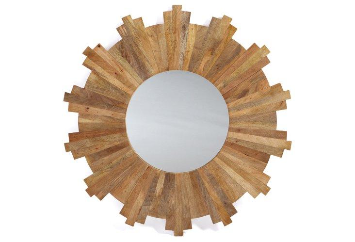 """Wooden Sunburst 36"""" Mirror"""
