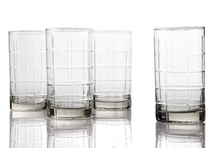 S/4 Highball Glasses, Plaid