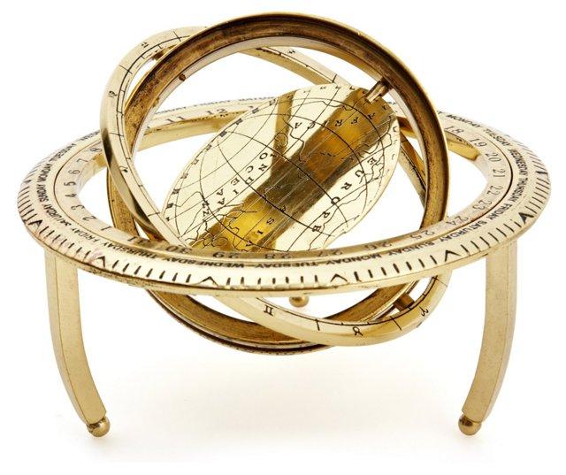 Desk Globe, Antiqued Brass