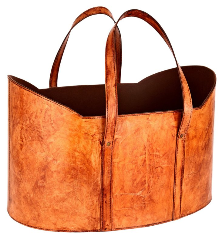 Leather Log Basket, Tobacco
