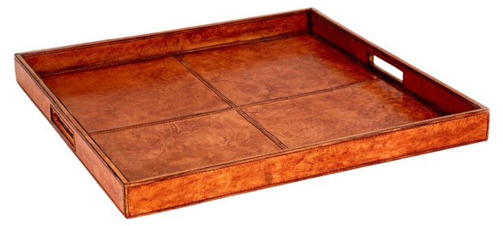Leather Serving Tray, Tobacco