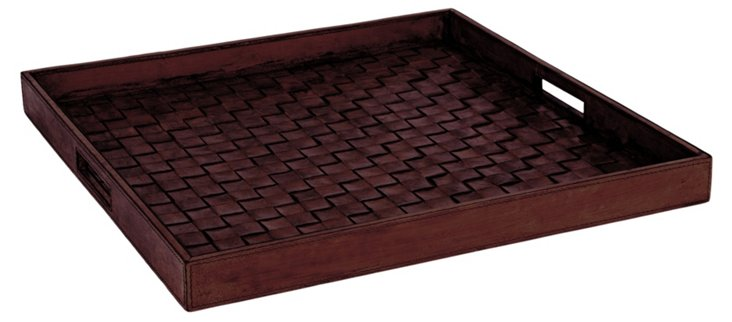 Woven Leather Tray, Cognac