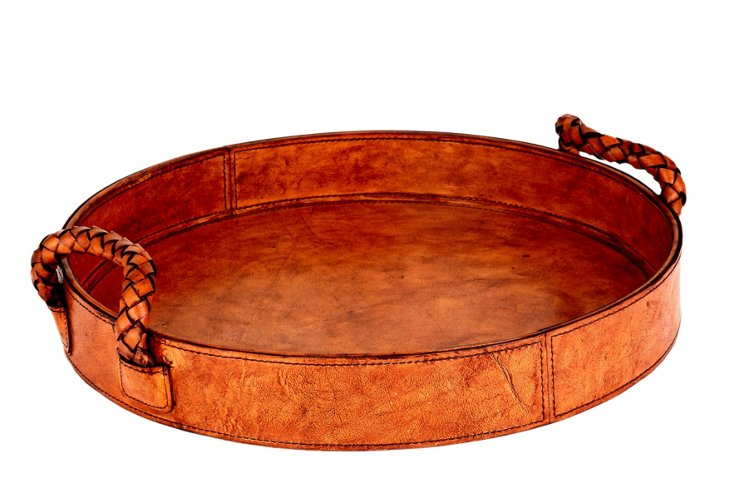 Round Leather Tray, Tobacco