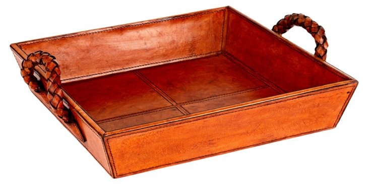 Leather Tray with Handles, Tobacco