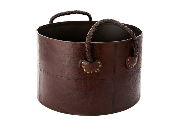 Braided Leather Log Basket, Chocolate