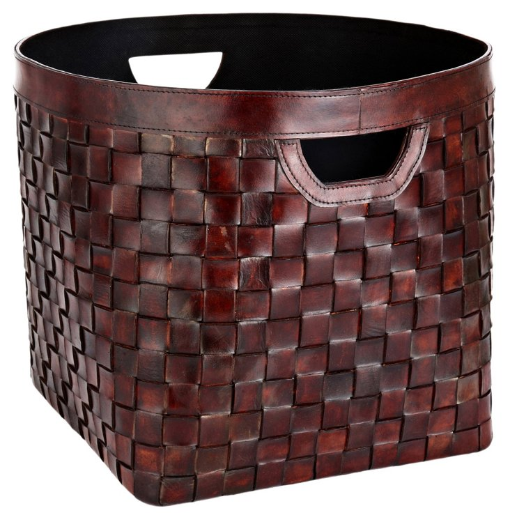 Leather Weave Basket, Cognac