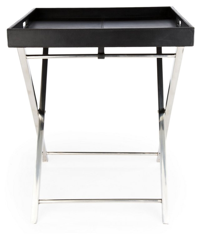Todd Leather Accent Table, Black