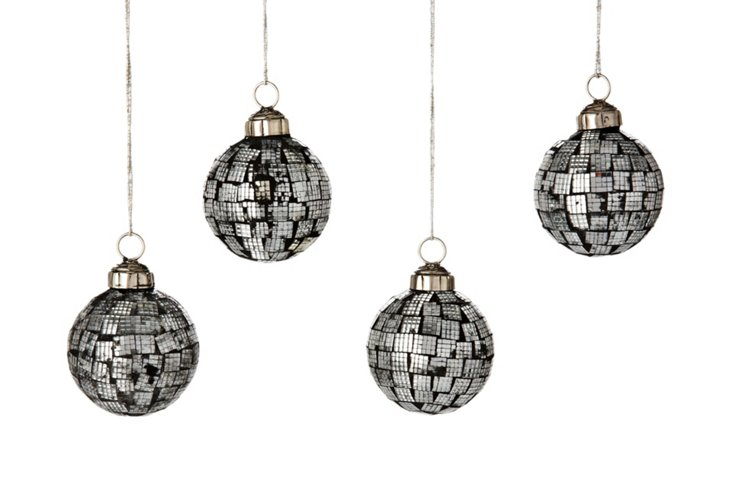 S/4 Deco Ball Ornaments, Frosty