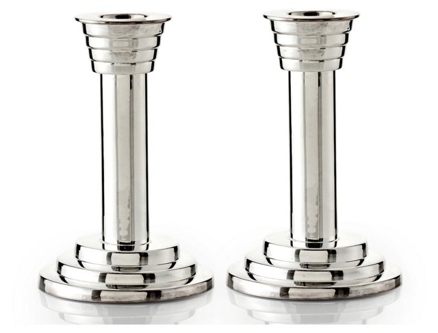 "S/2 5"" Polished Silver Candlesticks"