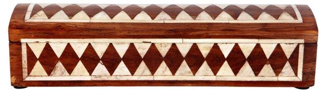 Diamond Wood/Bone Box, Brown/Ivory
