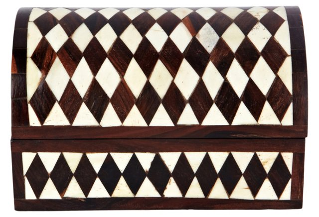 Diamond Bone Inlay Wooden Chest