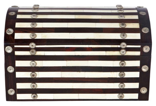 Studded Wood/Brass Bone Inlay Box