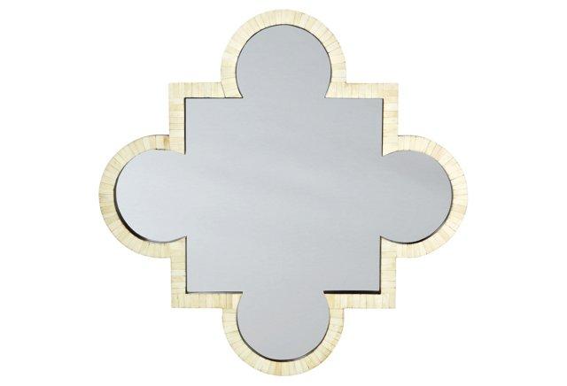 Quatrefoil Bone Mirror, Ivory