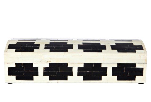 Kochi Wood and Bone Pen Box, Black/Ivory