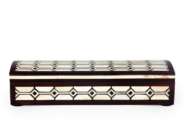 Nehru Wood and Bone Pen Box, Ivory/Brown