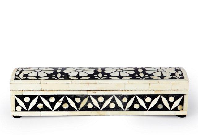 Brigade Bone Inlay Pen Box, Black/Ivory