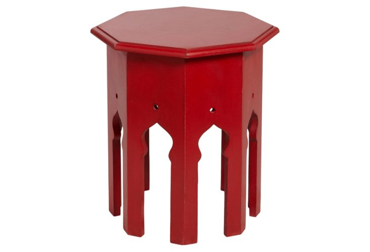 Moroccan Side Table, Red