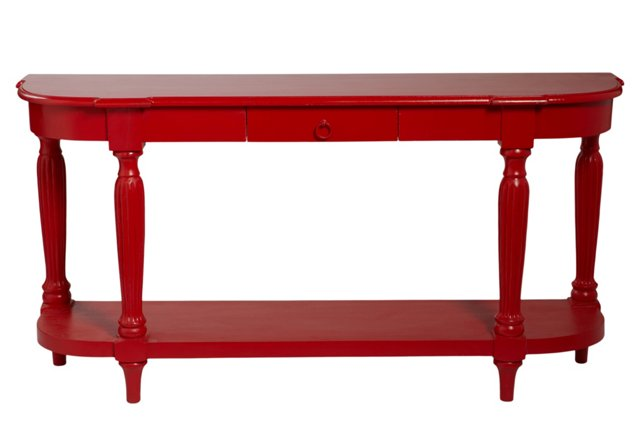 James Console Table, Shiny Red