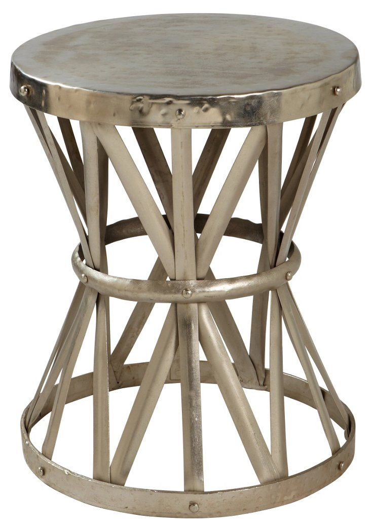 Collette Iron Stool, Antiqued Nickel