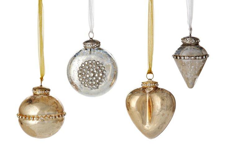 S/4 Assorted Ornaments, Ribbon