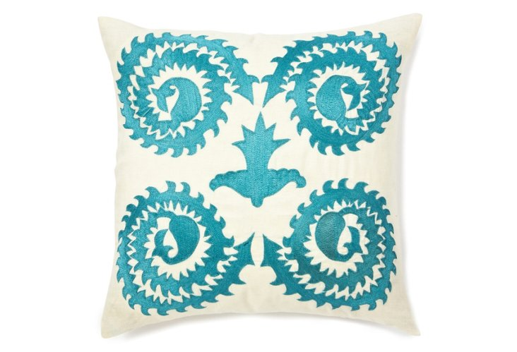 20x20 Stag Horn Pillow, Ivory/Blue