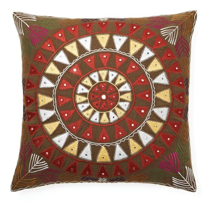 Fez 20x20 Linen Pillow, Olive/Multi