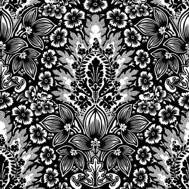 Polynesian Damask Wallpaper,  Black
