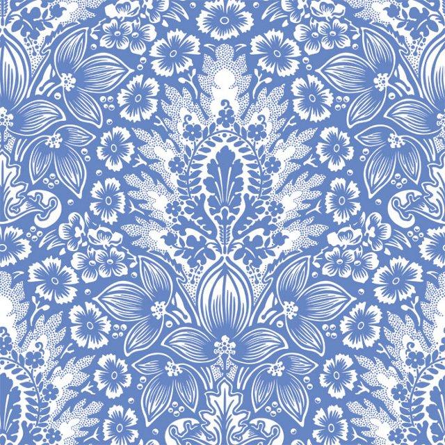 Polynesian Damask Wallpaper, Blue
