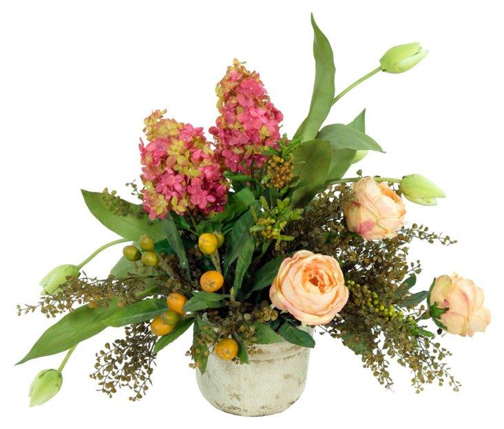 """33"""" Rose & Medlar Tree in Vase"""