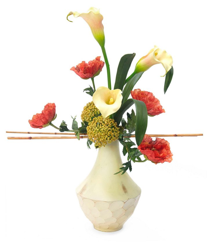"27"" Poppy & Calla Lily in Vase"