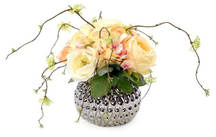 "26"" Rose & Snow Willow in Vase"