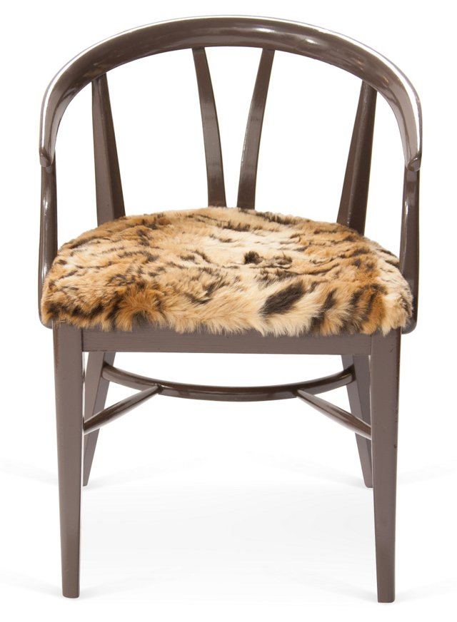 Wishbone Chair w/ Faux-Tiger Upholstery
