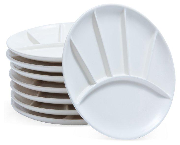 Midcentury Fondue Plates, Set of 8