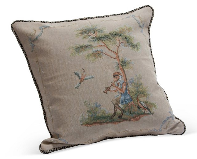 Antique French Aubusson Pillow I