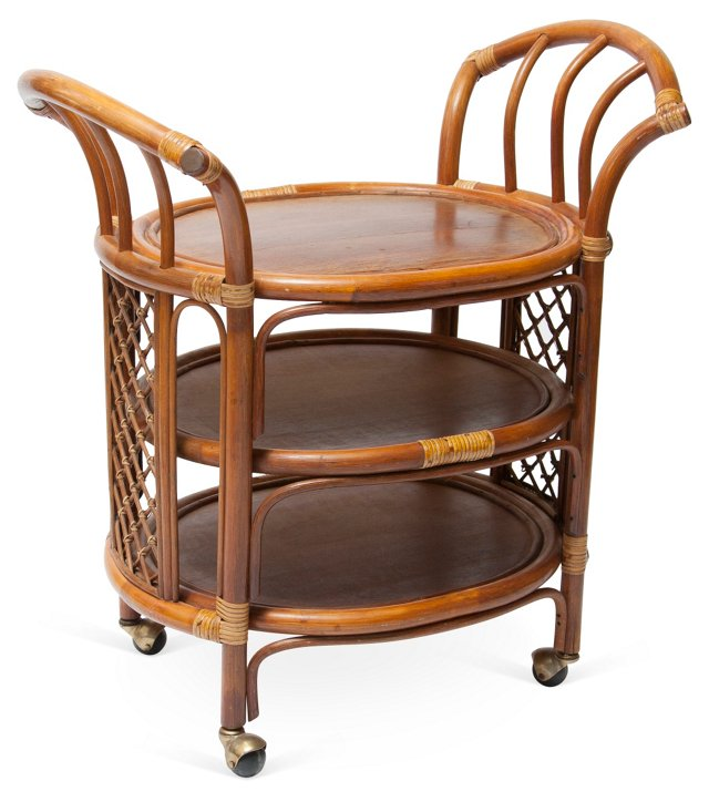 Rattan Three-Tier Serving Cart