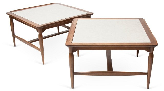 Midcentury Danish-Style End Tables, Pair