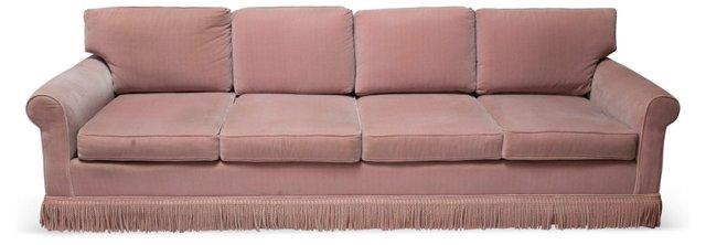 Long Pink Velvet Sofa w/ Fringe