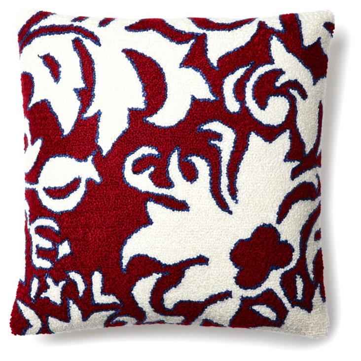 Damask 16x16 Pillow, Red