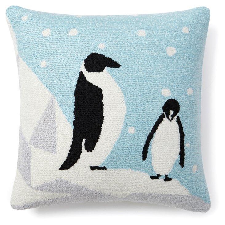 Penguins 16x16 Pillow, Light Blue