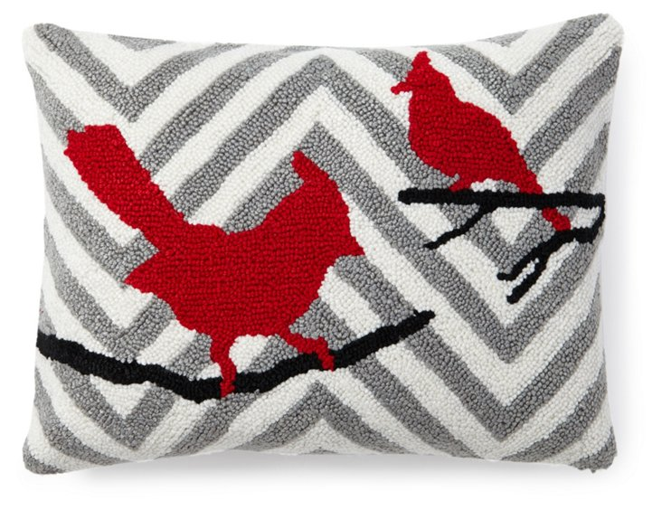 Chevron Birds 12x16 Pillow, Gray