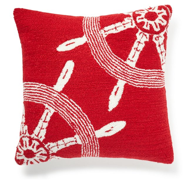 Helms 16x16 Pillow, Red/White
