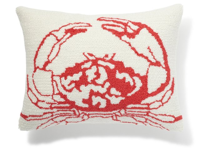 Crab 12x16 Pillow, Red/White