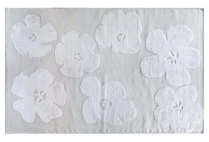 "7'9""x9'9"" Hibiscus Flat-Weave Rug, Ivory"