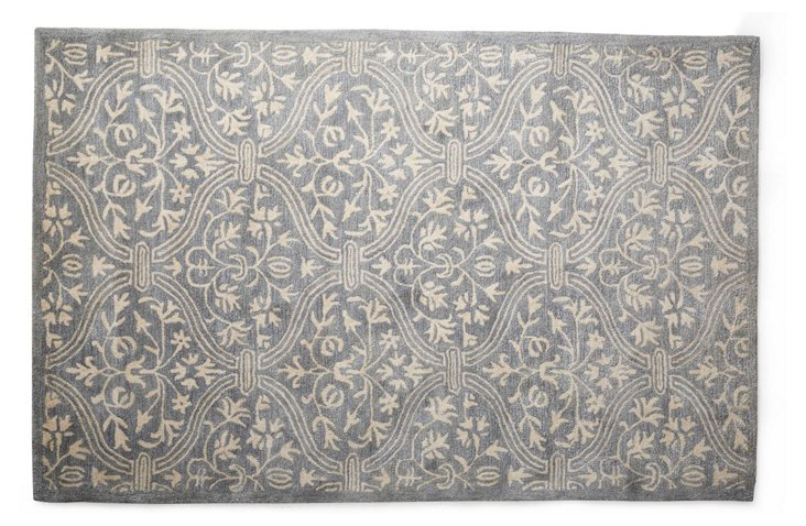 """7'9""""x9'9"""" Curtain Rug, Periwinkle/Ivory"""