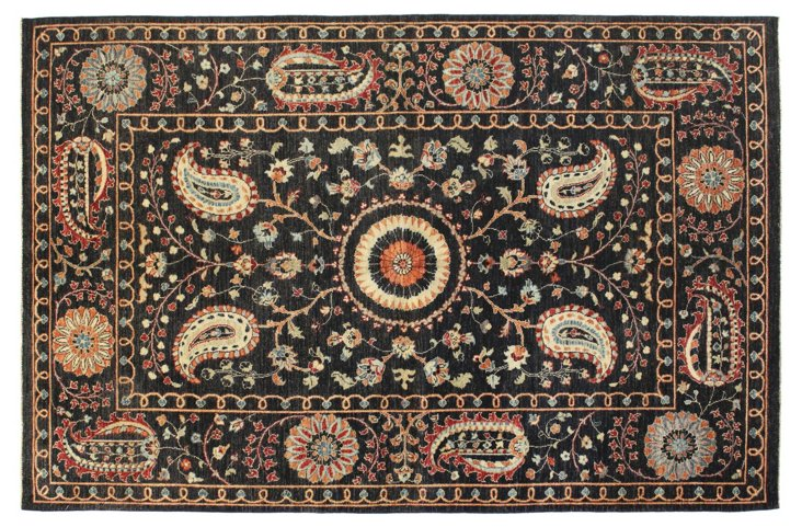 6'x9' Manali Rug, Black/Multi