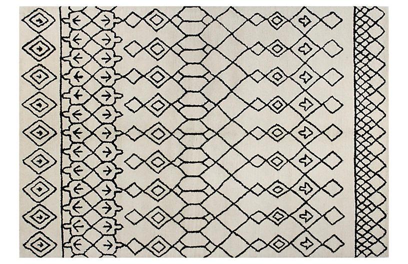 Charlotte Rug, Ivory/Black
