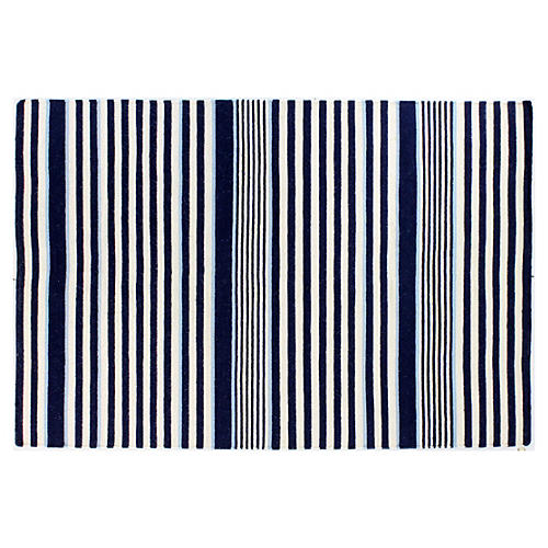 Maries Flat-Weave Rug, Navy