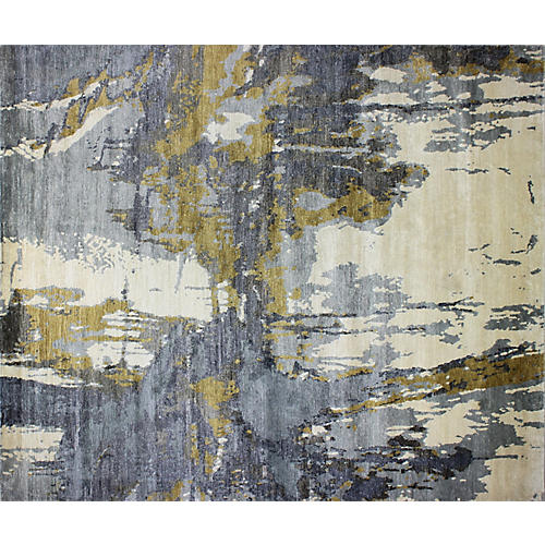 Chole Hand-Knotted Rug, Ivory/Blue