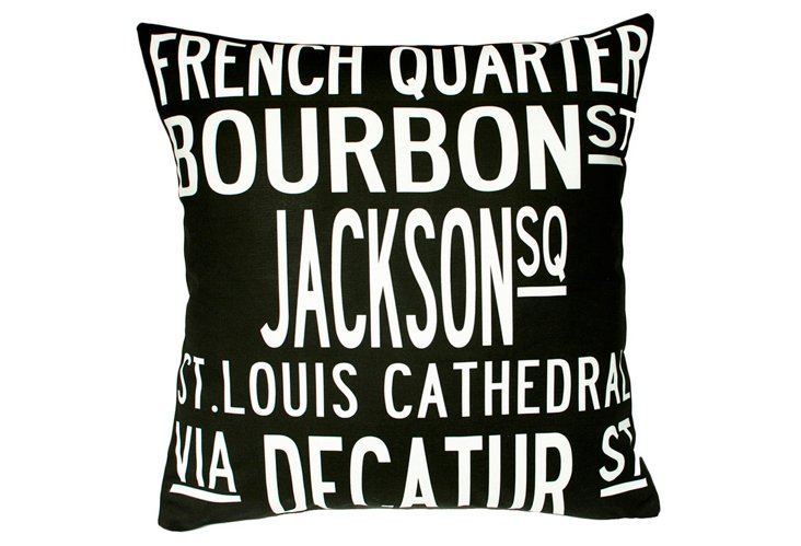 New Orleans 20x20 Pillow, Black